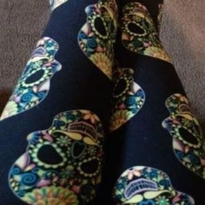 Pants - One Size Adult Florescent Sugar Skull Leggings